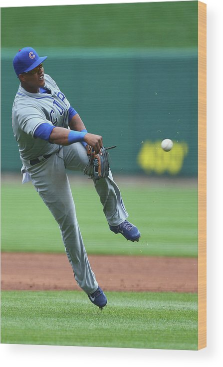Second Inning Wood Print featuring the photograph Starlin Castro by Dilip Vishwanat