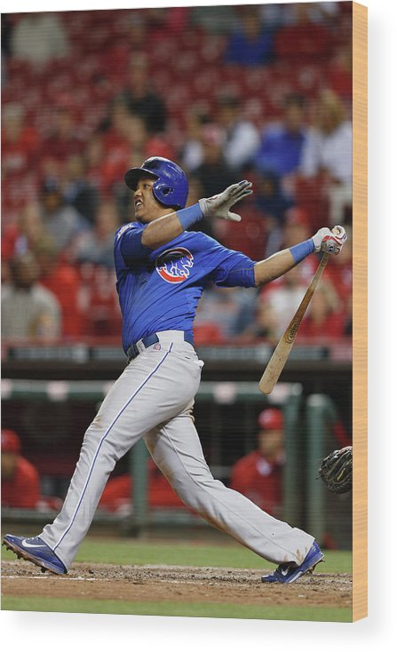 Great American Ball Park Wood Print featuring the photograph Starlin Castro by Joe Robbins