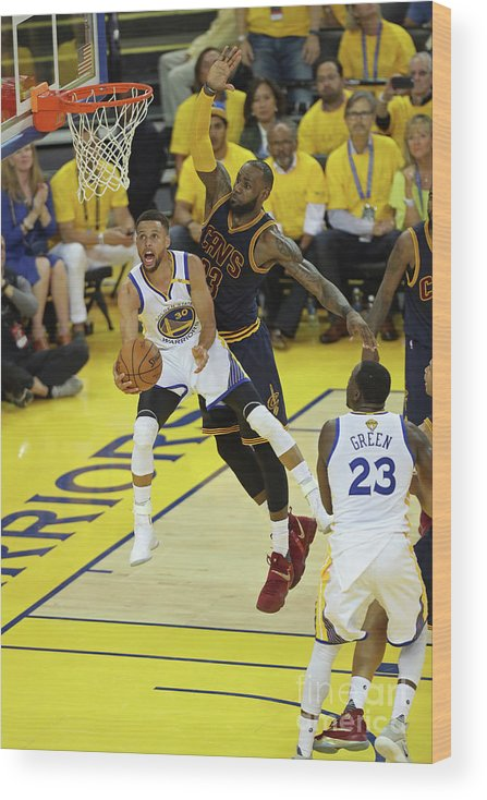 Playoffs Wood Print featuring the photograph Stephen Curry and Lebron James by Joe Murphy