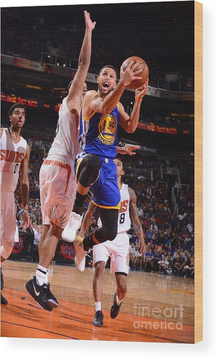 Nba Pro Basketball Wood Print featuring the photograph Stephen Curry by Barry Gossage