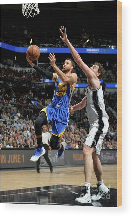 Nba Pro Basketball Wood Print featuring the photograph Stephen Curry by Mark Sobhani