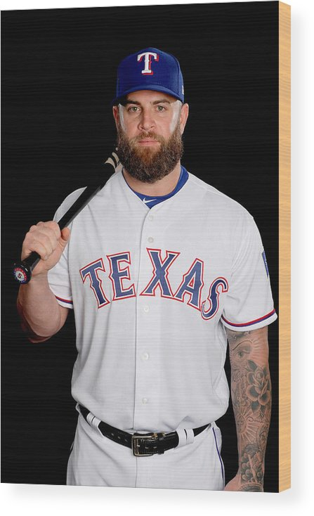 Media Day Wood Print featuring the photograph Texas Rangers Photo Day by Jamie Squire