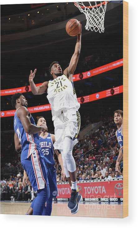 Nba Pro Basketball Wood Print featuring the photograph Thaddeus Young by David Dow
