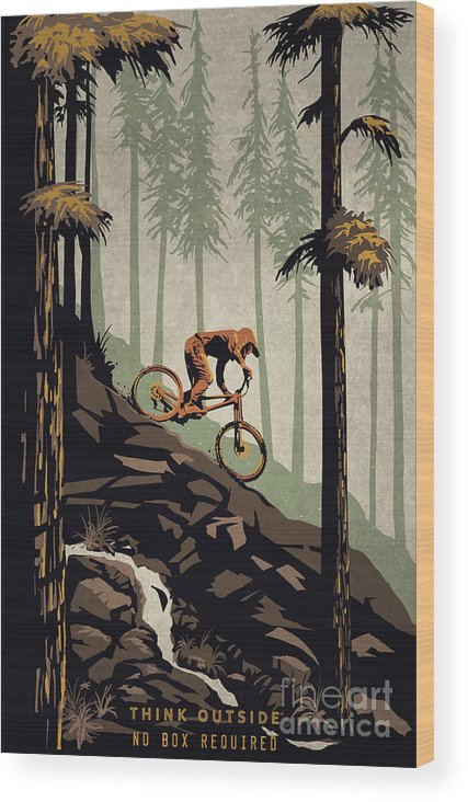 Mountain Bike Wood Print featuring the painting Think Outside No Box Required by Sassan Filsoof