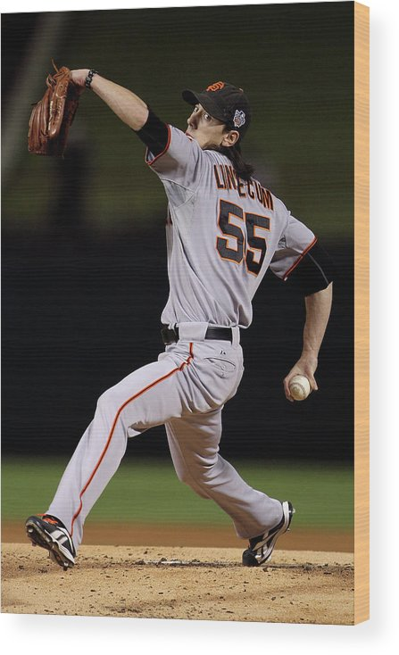 American League Baseball Wood Print featuring the photograph Tim Lincecum by Doug Pensinger