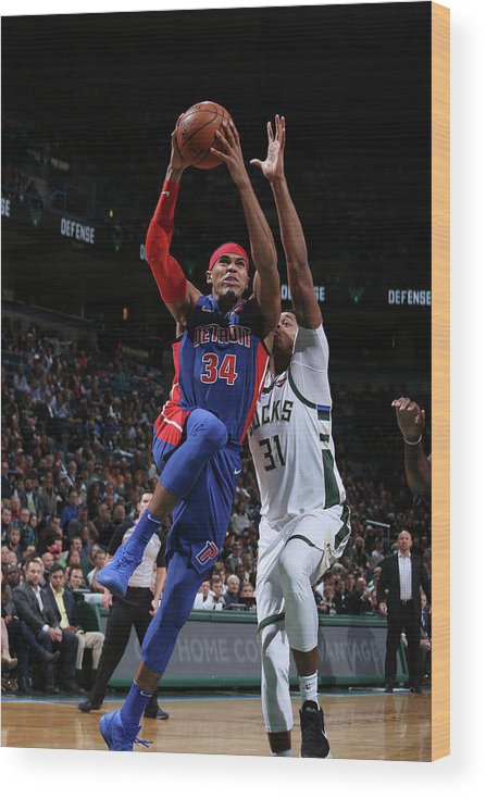 Nba Pro Basketball Wood Print featuring the photograph Tobias Harris by Gary Dineen