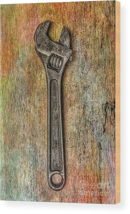 Tool On Rusty Metal Wood Print featuring the digital art Tool on Rusty Metal Two by Randy Steele
