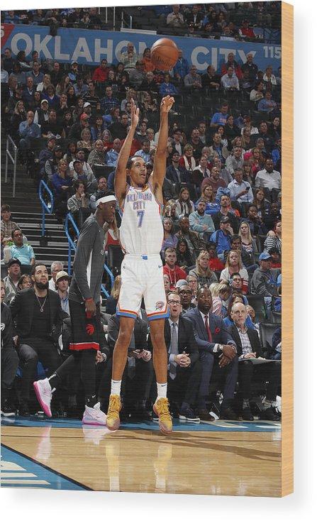 Nba Pro Basketball Wood Print featuring the photograph Toronto Raptors v Oklahoma City Thunder by Jeff Haynes