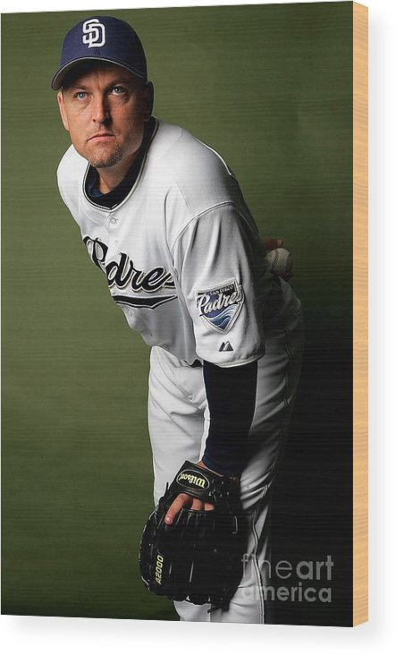 Media Day Wood Print featuring the photograph Trevor Hoffman by Ronald Martinez