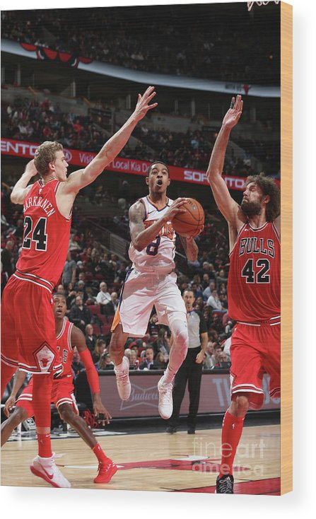 Chicago Bulls Wood Print featuring the photograph Tyler Ulis, Lauri Markkanen, and Robin Lopez by Gary Dineen