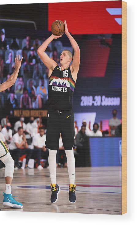 Playoffs Wood Print featuring the photograph Utah Jazz v Denver Nuggets - Game One by Garrett Ellwood