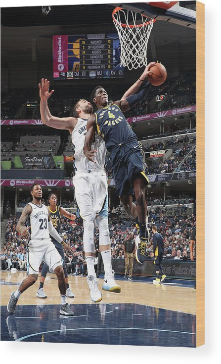 Nba Pro Basketball Wood Print featuring the photograph Victor Oladipo and Marc Gasol by Joe Murphy