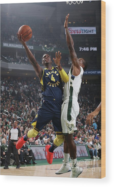 Nba Pro Basketball Wood Print featuring the photograph Victor Oladipo by Gary Dineen
