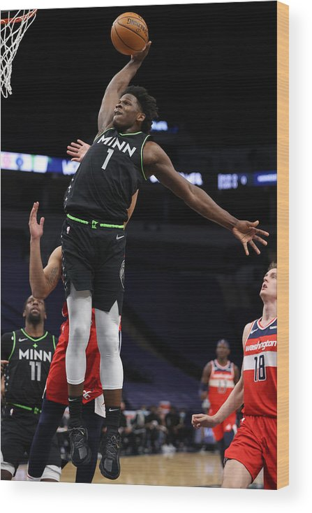 Nba Pro Basketball Wood Print featuring the photograph Washington Wizards v Minnesota Timberwolves by Jordan Johnson