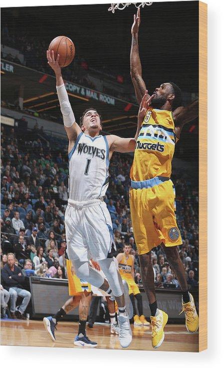 Nba Pro Basketball Wood Print featuring the photograph Will Barton and Tyus Jones by David Sherman