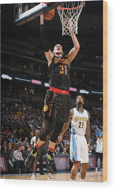 Nba Pro Basketball Wood Print featuring the photograph Wilson Chandler and Mike Muscala by Garrett Ellwood