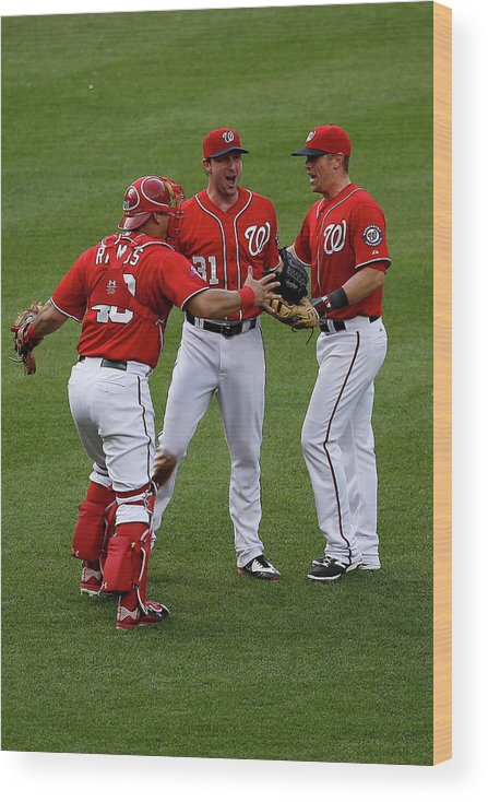 People Wood Print featuring the photograph Wilson Ramos, Max Scherzer, and Tyler Moore by Rob Carr