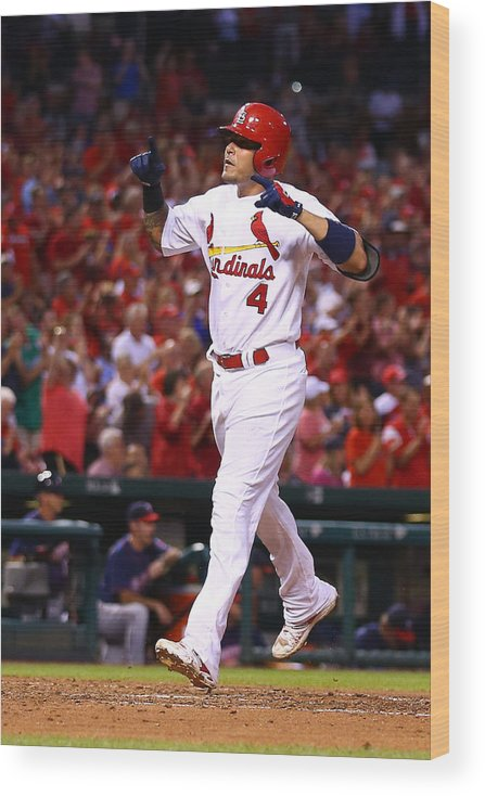 St. Louis Cardinals Wood Print featuring the photograph Yadier Molina by Dilip Vishwanat