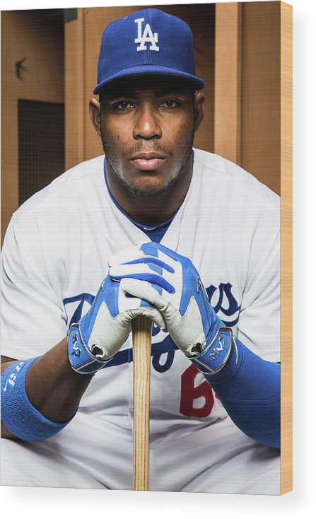 Media Day Wood Print featuring the photograph Yasiel Puig by Rob Tringali