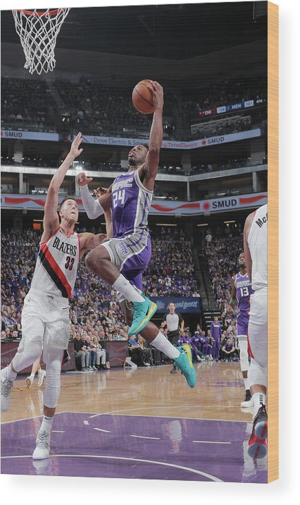 Nba Pro Basketball Wood Print featuring the photograph Zach Collins and Buddy Hield by Rocky Widner