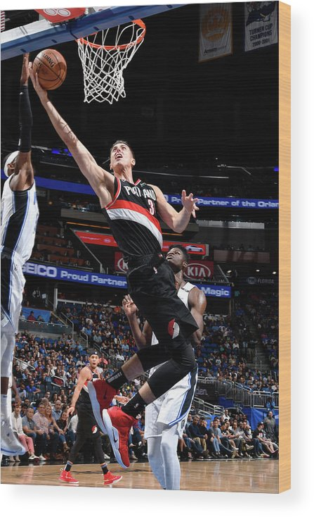 Nba Pro Basketball Wood Print featuring the photograph Zach Collins by Fernando Medina