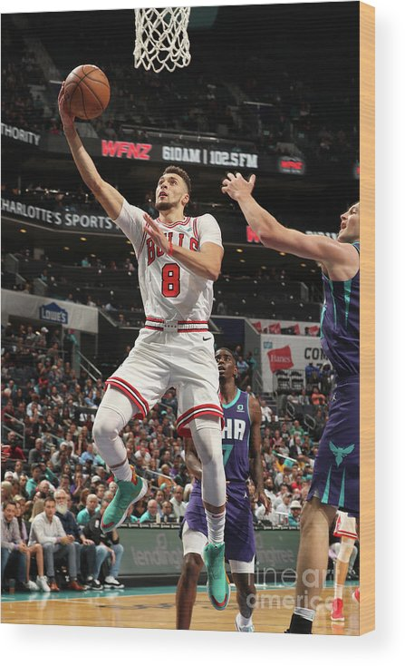 Chicago Bulls Wood Print featuring the photograph Zach Lavine by Kent Smith