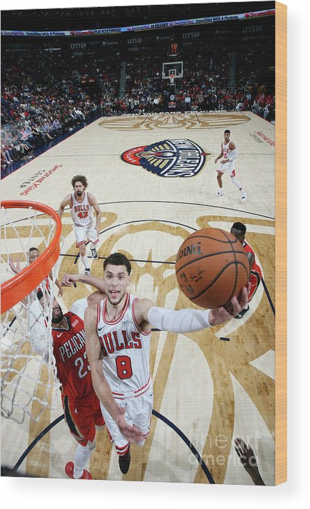 Chicago Bulls Wood Print featuring the photograph Zach Lavine by Layne Murdoch Jr.
