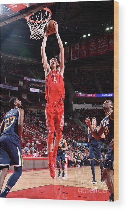 Nba Pro Basketball Wood Print featuring the photograph Zhou Qi by Bill Baptist