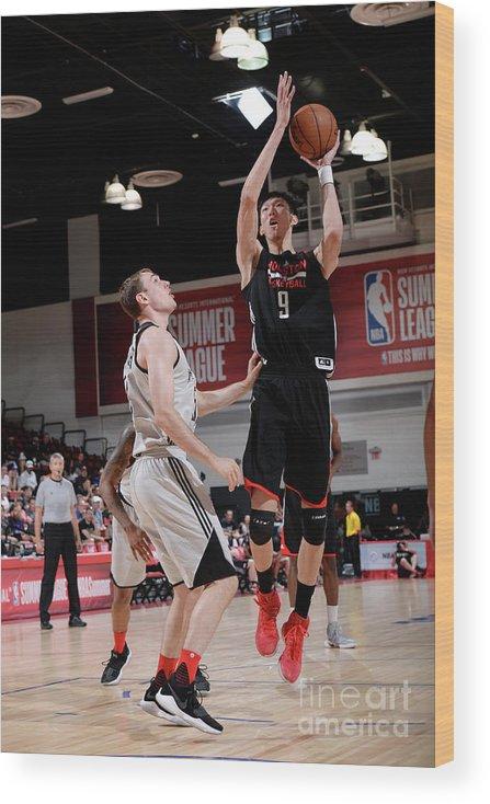 Nba Pro Basketball Wood Print featuring the photograph Zhou Qi by David Dow