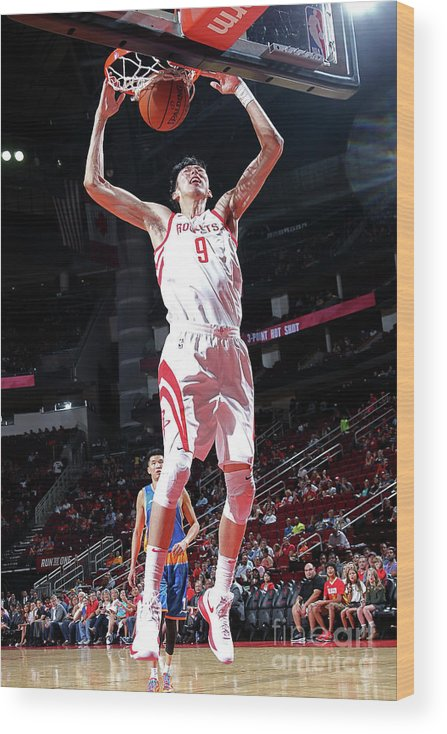 Nba Pro Basketball Wood Print featuring the photograph Zhou Qi by Layne Murdoch