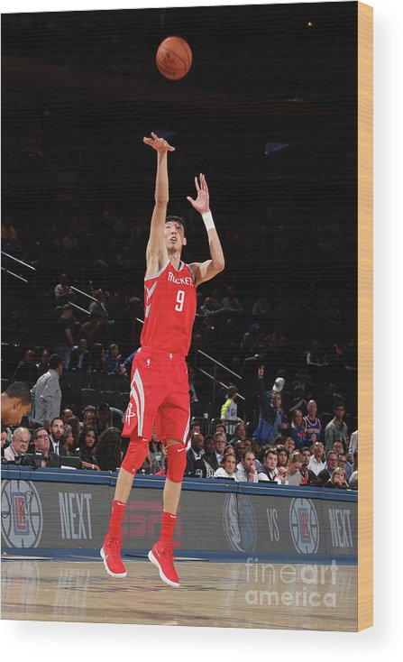 Nba Pro Basketball Wood Print featuring the photograph Zhou Qi by Nathaniel S. Butler