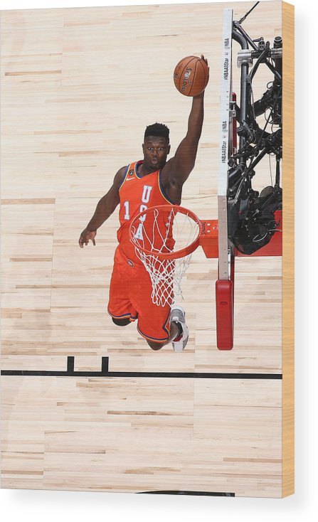 Nba Pro Basketball Wood Print featuring the photograph Zion Williamson by Nathaniel S. Butler
