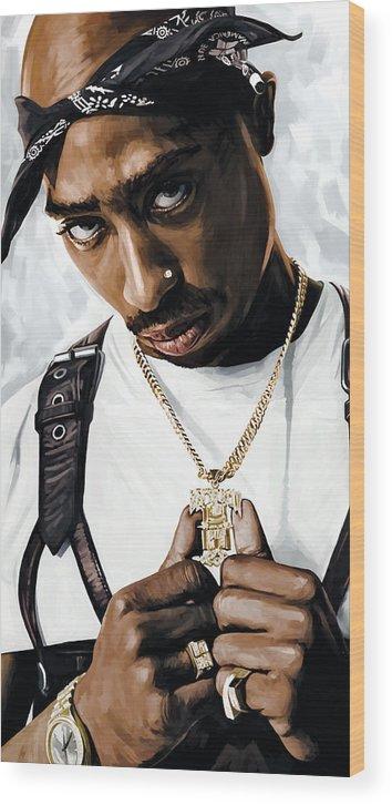 Tupac Shakur Paintings Wood Print featuring the painting 2Pac Tupac Shakur Artwork by Sheraz A