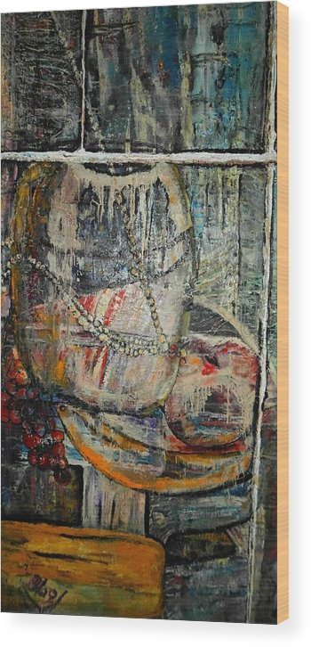 Still-life Wood Print featuring the painting Glancing through by Peggy Blood