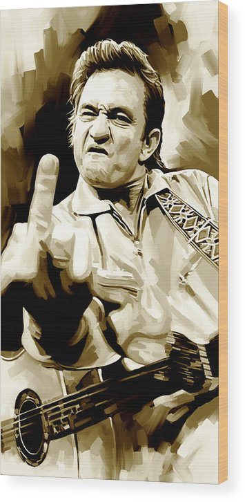 Johnny Cash Paintings Wood Print featuring the painting Johnny Cash Artwork 2 by Sheraz A