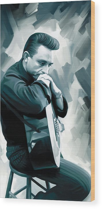 Johnny Cash Paintings Wood Print featuring the painting Johnny Cash Artwork 3 by Sheraz A