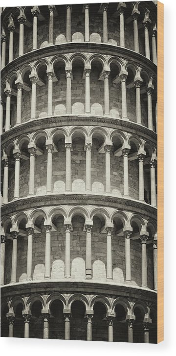 Architectural Column Wood Print featuring the photograph Leaning Tower Of Pisa, Tuscany Italy by Romaoslo