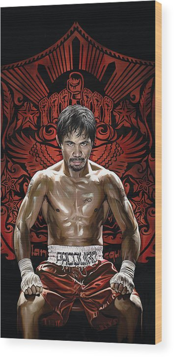 Manny Pacquiao Paintings Wood Print featuring the painting Manny Pacquiao Artwork 1 by Sheraz A