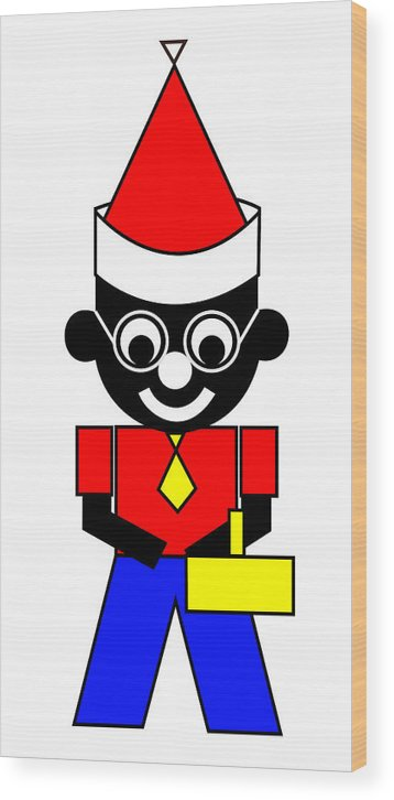 Samual The Manual Wishes You A Merry Christmas Wood Print featuring the digital art Samual the Manual wishes you a Merry Christmas by Asbjorn Lonvig