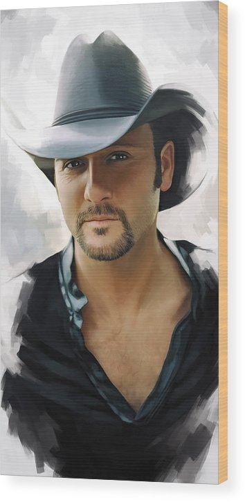 Tim Mcgraw Paintings Wood Print featuring the painting Tim McGraw Artwork by Sheraz A