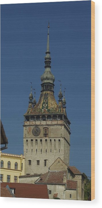 Old Town Wood Print featuring the photograph Sighisoara clock tower 1 by Amalia Suruceanu