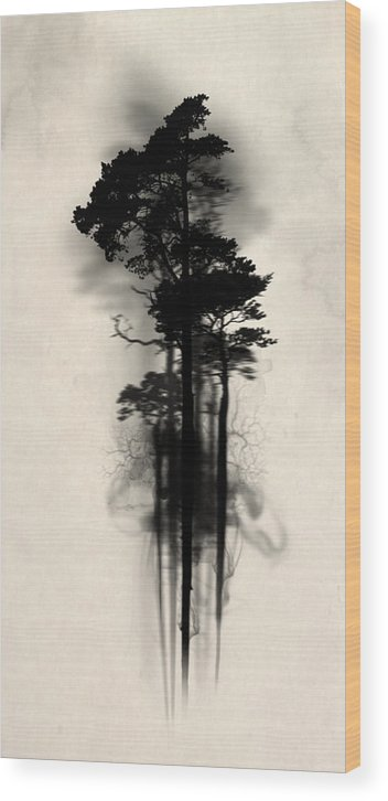 Forest Wood Print featuring the painting Enchanted Forest by Nicklas Gustafsson