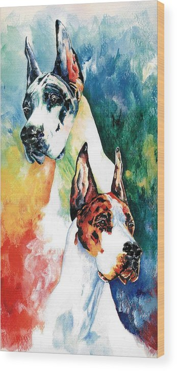 Great Dane Wood Print featuring the painting Fire And Ice by Kathleen Sepulveda