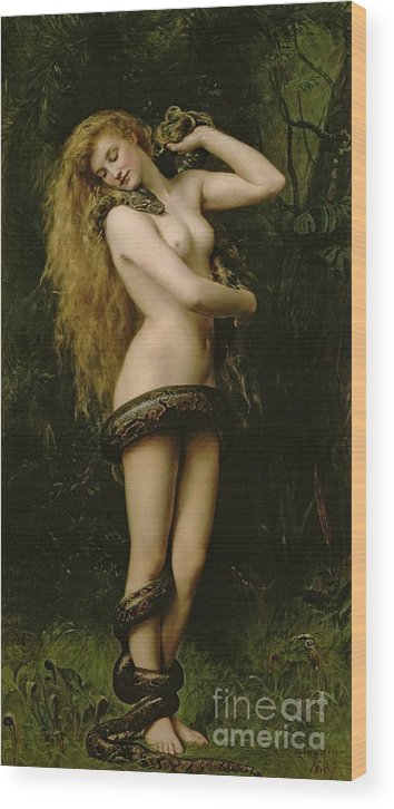 Nude; Female; Snake; Long Hair; Pre-raphaelite; Lilith Wood Print featuring the painting Lilith by John Collier