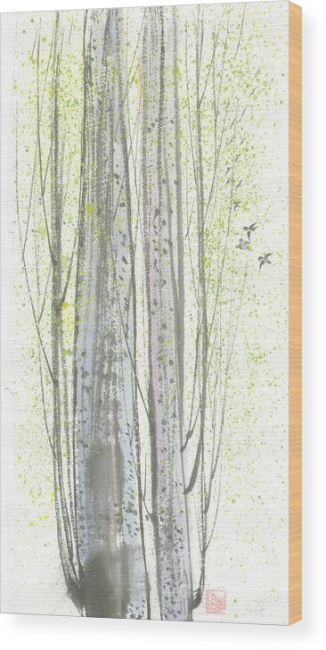 New Leaves Sprung Out From A Polar Tree With Birds Singing Among The Branches Wood Print featuring the painting New Leaves by Mui-Joo Wee