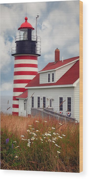 West Quoddy Lighthouse Wood Print featuring the photograph Quoddy Lighthouse Afternoon by Brenda Giasson