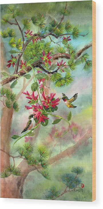 Hummingbirds Wood Print featuring the painting Sweet Journey by Eileen Fong