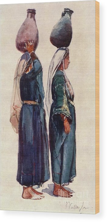 Farm Worker Wood Print featuring the drawing Studies Of Syrian Peasant Women by Print Collector