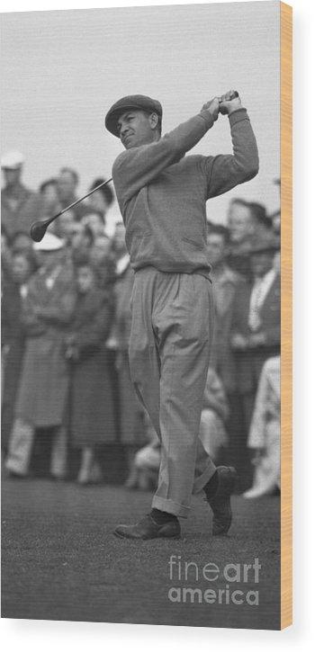 Playoffs Wood Print featuring the photograph Ben Hogan Swinging Golf Club by Bettmann