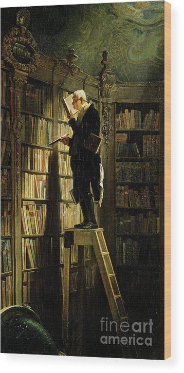 Librarian Wood Print featuring the drawing The Bookworm by Heritage Images